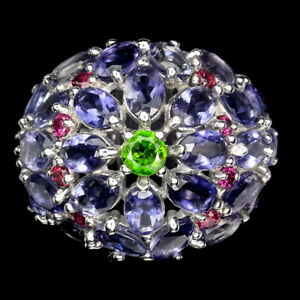 Unheated Oval Iolite Chrome Diopside Rhodolite Garnet 925 Sterling Silver Ring 9