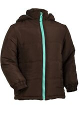 GIRLS ELFIN DOLLS BROWN PADDED PUFFA HOODED COAT SCHOOL WINTER JACKET.