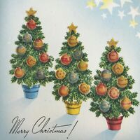 Vintage Early Mid Century Christmas Greeting Card Glitter Ornament Topiaries