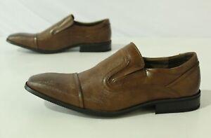 Adolfo Men's Leather Slip-On S/Trump-1 Dress Shoes FR7 Dark Brown Size US:12