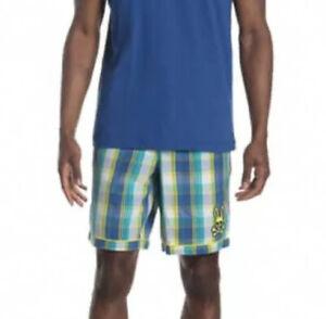 Psycho Bunny Pajama Shorts Size Large Madras Print Drawstring Waistband NWOT