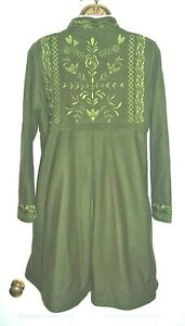 GUDRUN SJODEN Beautiful Wool embroidered Coat fits to 12 Olive Green knee length