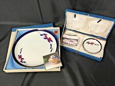 Set of 6 KORANSHA Blue Bracelet Serving Plates 5 Small, 1 Large Mint Blue Gold