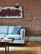 Mid Century Modern Reggiani Articulated Floor Lamp Metal Shade travertine base