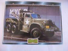 CARTE FICHE CAMION MILITAIRE DIAMOND T 969 WRECKER 1942