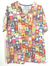 Working scrubs, M, mens, bright colors, sqaures with diff pics in each