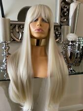 Blonde human hair wig, Lace Front Wig, Bangs Fringe Wig, Ombré lace front Ombré