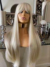 Blonde human hair wig Lace Front Wig, Bangs Fringe Wig, Ombré lace front Sophie