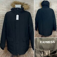 NWT Express Black Faux Fur Lined Hooded Water Resistant Parka Men's Sz XL $278
