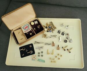 Vintage Estate Mens Jewelry Lot Cufflinks Tie Clips Swank 10k Slide Rule France
