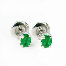 Oval Emerald Sterling Silver Fine Earrings