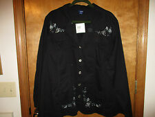 Basic Editions Women's Jacket 3X (see measurements - ok for 2X?) Cute!! NEW W/T