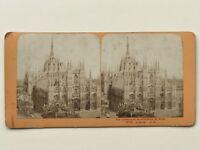 Cattedrale Da Milan Italia Fotografia J.Andrieu Stereo Vintage Albumina
