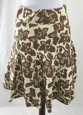 Boden Women's Size 8 Linen Brown Cream Floral Skirt