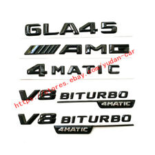 1Set For Mercedes Benz GLA 45 AMG 4MATIC 3D Emblems Badge Decoration Gloss Black