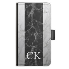 Personalised Initials PU Leather Phone Case Black Marble Stripe Side Flip Cover
