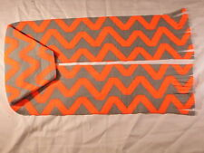 Gray Neon Orange Zig Zag Chevron Bright Fleece Scarf