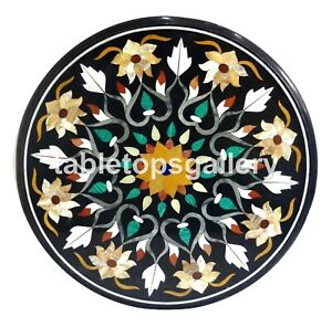 """28"""" Marble Corner Coffee Table Top Precious Floral Inlay Art Dining Decors B138"""