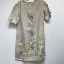 Vintage Day Dress Embroidery Floral Short Sleeve Tan Silk AS Found 8