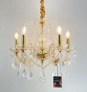Vollglas-Kristall Kronleuchter Ø48cm 5Leuchten funkelndens Bleikristall Gold