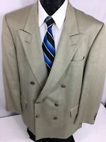JOS A BANK Men Gray PEAK LAPEL Sport Coat DOUBLE BREASED Jacket WOOL Blazer 44 R