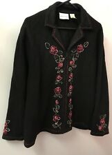 Alfred Dunner XL 1X Black Boiled Wool Jacket Embroidered Roses Full Zip Euc