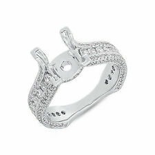 Semi Mount Round Diamond Engagement Ring 18k White Gold Pave Setting