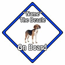 Personalised Dog On Board Car Safety Sign - Beagle On Board Blue