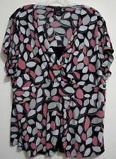 EAST 5th 1X Black Gray Pink Built In Cami Top Short Sleeve Polyester Blouse