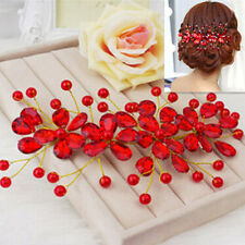 Women's Red Flower Wedding Bridal Party Handmade Hair Pin Clip Jewelry Sanwood