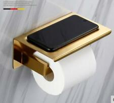 Brushed Gold Wall Mounted Toilet Paper Roll Holder Tissue Rack Glass Phone Shelf