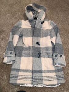Lauren Ralph Lauren Women's Vintage Plaid Duffle Toggle Coat Tan Gray PS Hooded