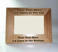 Personalised Natural Oak Wooden Photo 6 x 4 Frame - Custom Engraved Any Message