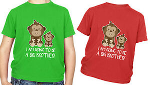 Monkey Kids T Shirt I am going to be a big brother GIFT Present Cute Children