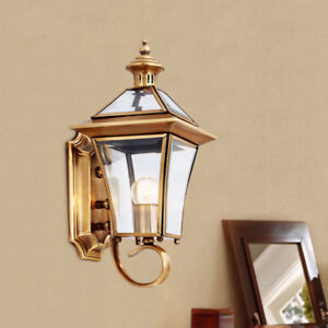 Classic Clear Glass Brass Lantern Exterior Waterproof Garden Gate Wall Lights