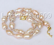 "Baroque 18"" 28mm pink Reborn keshi pearls necklace E8999"