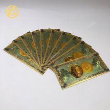 10pc Gold Color Foil ONE BITCOIN BTC Bills souvenir Gold banknote Collection COA