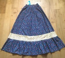 FRENCH 1960s BOHEMIAN LONG PRAIRIE SKIRT~LIBERTY FLORAL~MADE IN FRANCE~NEW~W:24