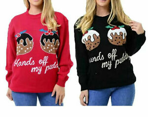 Womens Long Sleeve Knitted Jumper Hands Off My Pudding Christmas Sweater Top