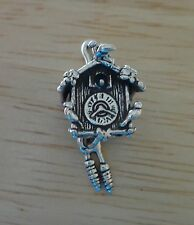 Sterling Silver 3D 27x15mm Movable Cuckoo Clock Charm!