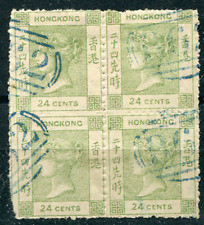 HONG KONG (17194) Spiro QV 24c blue B62 postmark/cancel
