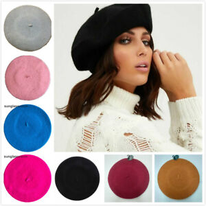 Women Black French Beret Plain Red Hat Mustard Cap Beanie Winter Autumn Fancy