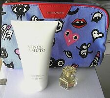 VINCE CAMUTO .25 OZ EDP + 5 0Z BODY LOTION+BLUE COSMETIC BAG IN PICTURE