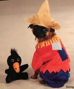 Zack & Zoey Halloween Comfy Pet Costume Scarecrow W/ Hat And Crow Toy New XL