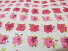 """VTG 60s light weight canvas cotton PINK floral 36"""" wide fabric on off white"""