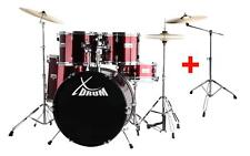 "SET DE BATTERIE ACOUSTIQUE DRUM KIT 20"" BASSDRUM SUPPORTES CYMBALE PEDALES ROUGE"