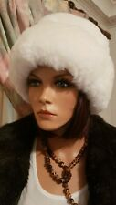 Off-White Russian Cossack Genuine Pure Baby Alpaca Fur Hat From Peru Large Size