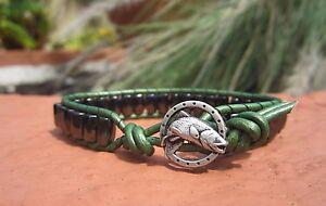 Handmade Mens Magnetic Green Leather Fish Trout Surf Bracelet Black Magnets