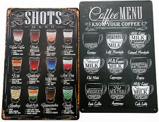 2 x METAL TIN SIGNS vintage cocktail cafe pub bar - SHOTS AND COFFEE MENU