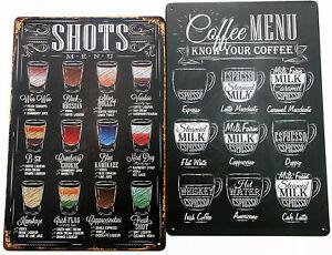 2 x METAL TIN SIGNS vintage cocktail cafe pub bar retro - SHOTS AND COFFEE MENU